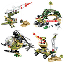 2017 modern military scene building block Pursuit Missile Rocket gun car helicopter bricks army figures toys for boys gifts(China)