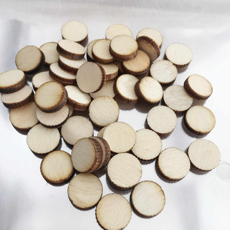 100 Pcs Blank Wood Pieces Slice Round Unfinished Cutout Hanging for Partyfavor Baby Shower Decor DIY Table Craft Christmas
