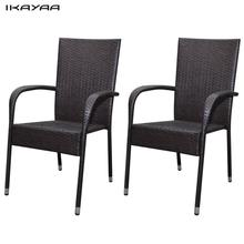 iKayaa 2 pieces Set of brown poly rattan Chairs furniture for the garden For Outdoor Dining ES Stock