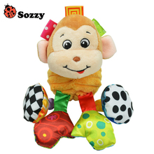 Sozzy Baby Vibrated Plush Animal Monkey Toy Rattle 15cm Crinkle Sound Soft Stuffed Multicolor Multifunction Toy