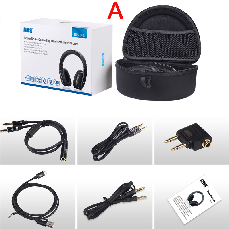 August EP750 Active Noise Cancelling Bluetooth Headphones Package A