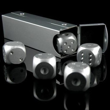 5 pcs/set Aluminum Alloy Engrave Metal Dice Square Tube Poker Party Game Toy Casino Dominoes Portable Bosons BM88