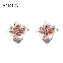 YiKLN New Austrian Crystal Enamel Big Flower Earrings Rose Gold Color Alternative National Wind Stud Earrings Jewelry oorbellen(China)