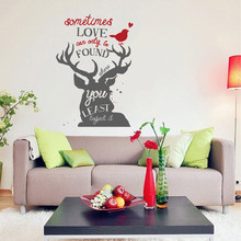 Sometimes Love Can Only Be Found Where You Least Expect To Quotes Lettering Wall Stickers Christmas Decals Deer Home Decor 689MX