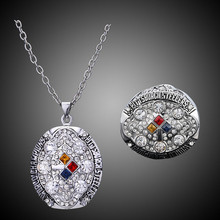 American Football Sports Imitation Paved Mens Jewelry Sets Hot 2008 Pittsburgh Steelers Super Bowl Rings and Necklace
