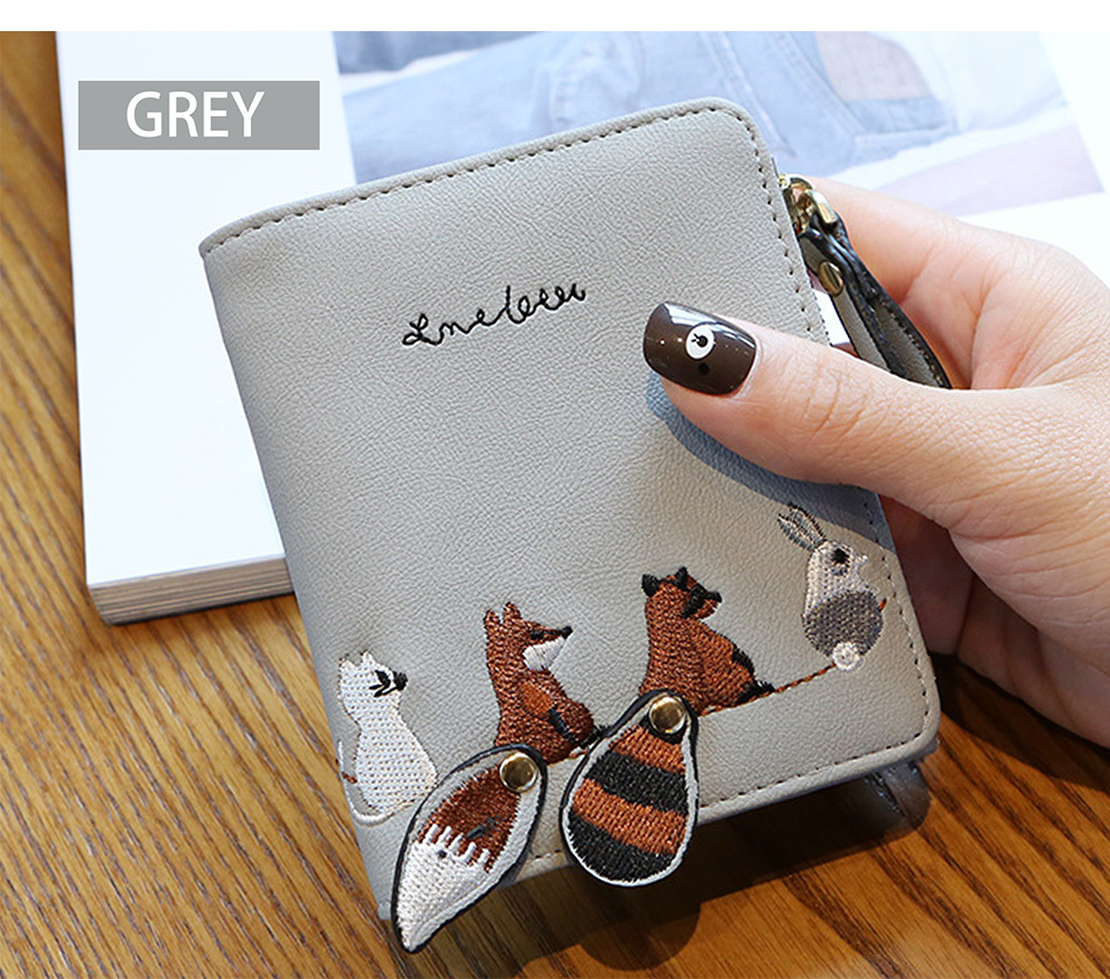 2018 Fashion Naivety Short Wallet Embroidery Fox Wallets Female PU Leather Hasp Coin Purse Zipper Clutch  drop shipping 53