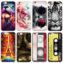For iPhone 5S Case Cute Cartoon Tiger Cheetah lion Cassette Eiffel Tower Silicon Soft Cover for iphone 7 5 SE 6 6S Plus Cases(China)