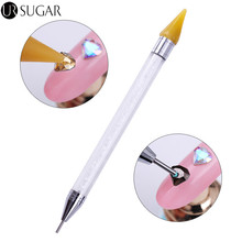 1Pc Dual-ended Nail Rhinestone Dotting Pen Tool Studs Picker Wax Pencil Crystal Beads Handle Manicure Nail Art Tool(China)