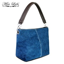 Miss Lulu 3 Pieces Women Real Italian Suede Leather Vintage Handbag Tote Hand Bag Navy Small Size One Handle