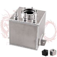 Kylin store --- Free shipping Universal BLACK OR SILVER 2L Aluminium Oil Catch Tank/Fuel Cell/Fuel Tank with AN6