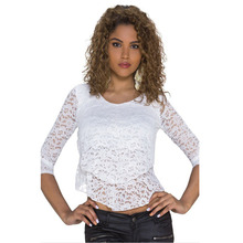 Double layer Fashion  Women t shirt Ladies Sexy Party women evening T-shirt Club Wear Floral Lace Crop Tops Clubwear