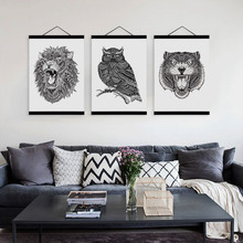 Modern Black White Abstract Animal Head Lion Tiger Wooden Framed Canvas Painting Home Decor Wall Art Print Picture Poster Hanger