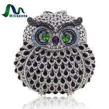 Milisente Women Evening Bags Ladies Owl Shape Crystal Clutch Bag Female Gold Sliver Pink Color Party Clutches