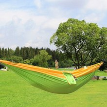 Hot Selling High Quality One Person Assorted Color Parachute Nylon Fabric Hammock with Strong Rope Outdoor Seating Hammock