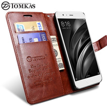 TOMKAS Wallet Case For Xiaomi Mi6 Mi 6 Luxury PU Leather Flip Cover For Xiaomi Mi6 Stand Design Phone Bag Cases with Card Holder(China)