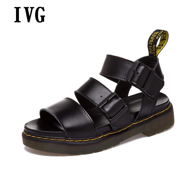 2017 Flat Sandals Women Black White Genuine Leather Summer Peep Toe Platform Sandals Large Size 35-44 Beach Sandals<br>