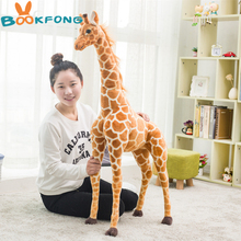 BOOKFONG 100CM stuffed animal lovely simulation giraffe plush toy soft giraffe doll high quality birthday gift