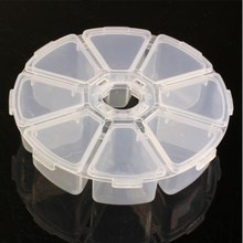 New Arrival Plastic Round Storage Box Case Nail Art Rhinestones Gems Beads Container 8 Grids