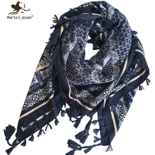 [Marte&Joven] Bohemia Ethnic Style Floral Print Porcelain Wrap and Shawl for Women 110X110 cm Tassels Checks Square Scarf Ladies