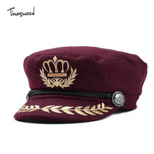 [TIMESWOOD] Wool Felt Womens Military Hats Army Navy Types Caps For Women Winter American Embroidery Wheat Custom Crown New Hat