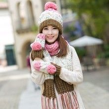 Knitted hat scarf gloves three pieces set one piece color block decoration muffler scarf girls winter birthday christmas gift(China)