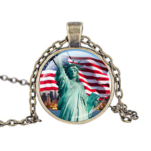 The Declaration of Independence necklace Statue Of Liberty pendant Liberty Enlightening the World jewelry silver plated necklace(China)