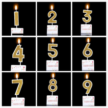 Birthday Candles Gold Red Number Cake Cupcake Topper Party Birthday Cake Candle Party Decoration Supply LUHONGPARTY(China)
