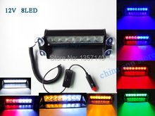 8 Led Flash Boat Truck Car Flashing Warning Emergency Windshield Unit 3 Mode Strobe Light Lamp Blue Red White Amber etc
