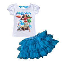 New 2017 Summer MOANA Baby Girl Dress Casual Sets Children's Monana Dress T-shirt + Dress Children Set Suits Kids Clothing