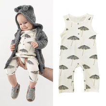Toddler Baby Boy Girl Umbrella Print Sleeveless Romper Jumpsuit Outfits Clothes Playsuit Size 0-24M