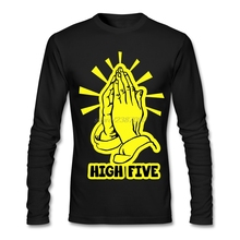 Praying Hands - High Five Cotton Shirts Latest Adult Pre-cotton T Shirt Humor Long Sleeve Men T-Shirts