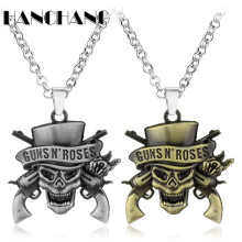 Classic Music Band Guns N 'Roses Necklace Skull Death Logo Pendant Necklace Retro accessories Jewelry for women female men