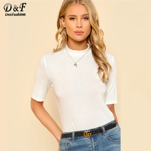 Dotfashion Mock Neck Rib Knit Tee Shirt 2018 Spring White Stand Collar Slim Fit Plain Woman Tee Short Sleeve Stretchy T Shirt(China)