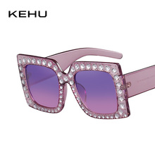 KEHU New Fashion Trend Color Diamond Frame Women Sunglasses Classic Square Prevent Bask Glasses Gradation Color Lens K9272(China)