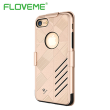 FLOVEME Armor Case For iPhone 6 6S Plus Belt Clip Shockproof Soft Silicone Layer Full Protective Slide Cover For iPhone 7 7 Plus(China)