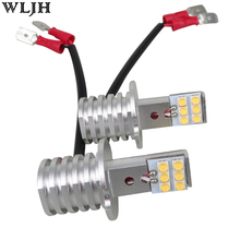 WLJH 2x 60W H3 Led Fog Light Bulb 1000LM Auto 12V 24V Car Light Driving Lamp Daytime Running Lights DRL Fog LED Bulb White
