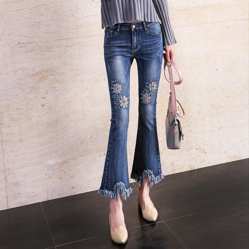 High Waist Denim Blue Jeans Woman Spring Autumn 2017 New Pants Hole Ripped Jeans For Women Bottom Trousers Flare Jeans C2995Îäåæäà è àêñåññóàðû<br><br>