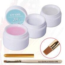 Beau гель 3 шт. uv гель mix Цвет прозрачный розовый белый UV наращивания ногтей Кисточки Pen Pro Маникюр расширение советы Инструменты(China)