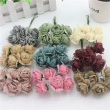 30 pcsrural linen rose artificial flower handmade for wedding home party decoration diy flower wedding flower festive handicraft(China)