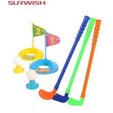 Surwish Set of Plastic 3 Golf Putter Club 2 Balls 2 Putting Cup 2 Flags 2 Tees Kids Toy - Color Random(China)