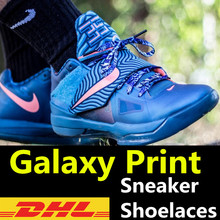DHL FREE SHIPPING~100pair/lot~Galaxy Print Laces~Galaxy Sneaker Shoelaces~Heat-transfer Print Shoelaces~12 different print style