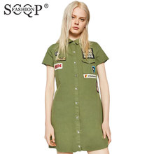 SCQP FASHION Formal Army Green Women Shirt Dress Appliques Letter Womens Dresses Short Sleeve Mini Summer Work Military Dress