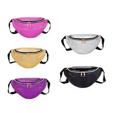 17bdeeaaf94a Solid Silver Belt Bag Women Leather Bags 2018 PU Cordura Military Waist Bag  Bolsa Cintura Pouch