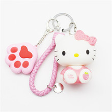 Cute Cat Claw LED Lights Sound Keychains Hello Kitty Keychain KT Key Rings Woman Car Purse Bag Charms Key Chain Holder Pendant