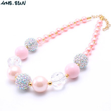 MHS.SUN 1PC/Lot Fashion Baby Kid Chunky Necklace Peach Pink Color Cute Kid Bubblegum Chunky Bead Necklace Girl Children Jewelry(China)