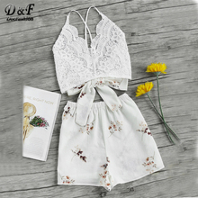 Buy Dotfashion Floral Lace Sexy Two Piece Set Women Cross Bow Tie Back Cami Top Shorts 2018 Summer Holiday Crop 2 Piece Sets for $12.98 in AliExpress store