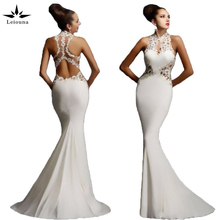 Leiouna Black Red White Lace Dress V Neck Club Dress Gowns Mermaid  Sexy Backless Sleeveless Prom Party Formal Long Dresses