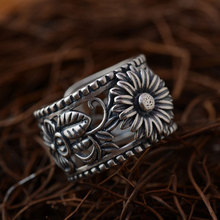 925 Silver Ring chrysanthemum Flower Butterfly 100% Real S925 Sterling Thai Silver Rings for Women Jewelry Adjustable Size(China)