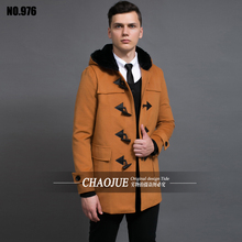 CHAOJUE Horn button overcoat plus size mens wool coat uk hooded red camel woolen coats for men black duffle coats free shipping