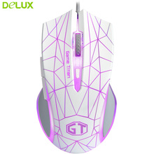 Delux Wired Mouse DPI 3500 USB Optical Gaming Mouse Diamond Texture Design Gaming Mouse With Colorful Backlight For Computer(China)